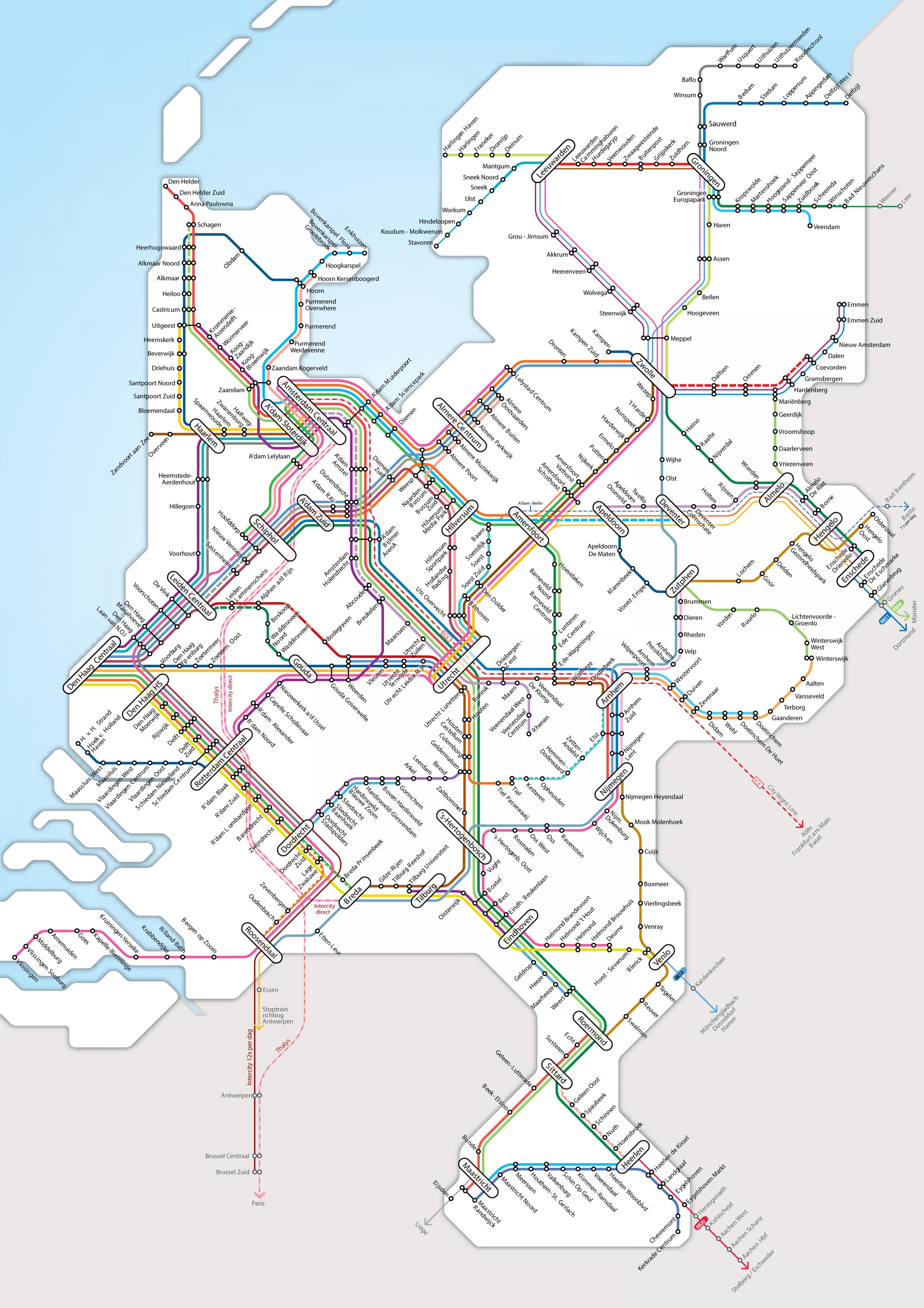 Nizozemsko Zeleznicni Mapa Nizozemsko Zeleznicni Sit Mapa